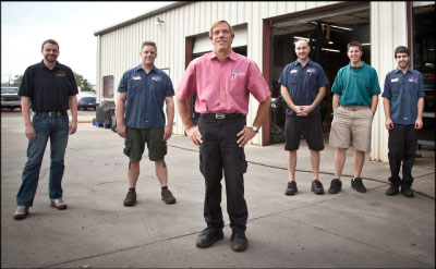 PEOLPE POWER: Robert Blaes, center, says his tools and equipment are only as good as his staff's ability to utilize them. From left are employees Kevin Casey, Mike Mahan, Ryan Chapman, Josh Kukielka, and Chris Kirkland. Photo of by Crystal Allen