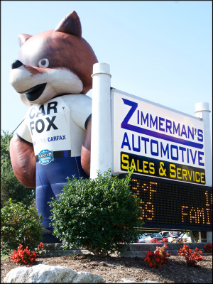 The CARFAX mascot loomed large at the shop's last car show. Photo by Stuart Leask