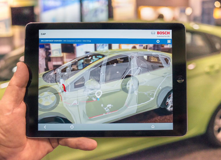 Training's New Reality: Augmented reality training concepts, like that of Bosch Automotive Solutions above, help technicians interact with repair information in a simple way.