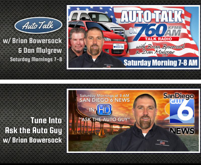 HIGHLY VISIBLE: Brian Bowersock uses advertisements like the ones above to promote his radio show and TV segment. Coutesy Brian Bowersock, West Escondido Automotive & Transmission