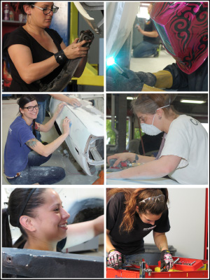 ALL IN: More than 20 female technicians and shop operators—from both the collision and mechanical segments of the industry—banded together to complete the 11-week restoration.