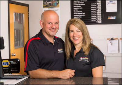 TEAM EFFORT: Manelas' co-owner and wife, Karen, serves as the business's CFO and office administration manager. Every team member at Auto Care Plus has a precise role, one that contributes to the group's overall success. Photo by Mark Levesque