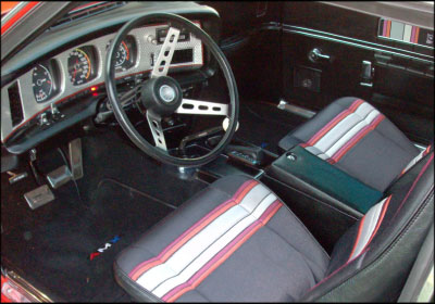 RARE FIND: The Pierre Cardin edition of the AMC AMX Javelin featured funky striped seats and door panels. Just over 4,000 were produced. Photo courtesy Robert La Cross