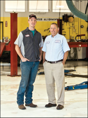 PERSONAL CONNECTION: George Brodin, right, and his son, Kenny, have worked to take an unassuming shop in the Rocky Mountains into a $1.8 million powerhouse. Photo by Cara Leonard